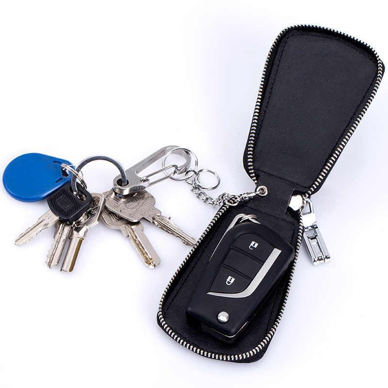 Hot Jual! Unisex Kualitas Tinggi Mobil Gantungan Kunci Dompet Asli Kulit Case Kunci Mobil Bisnis Kunci Paket Pembantu Rumah Tangga Tas Kunci