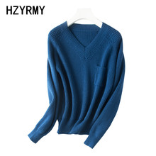 цена HZYRMY Autumn Winter New Women's V-Neck Sweater Fashion Loose Solid Color Short Wool Knit Pullover Soft and Warm Female Sweaters