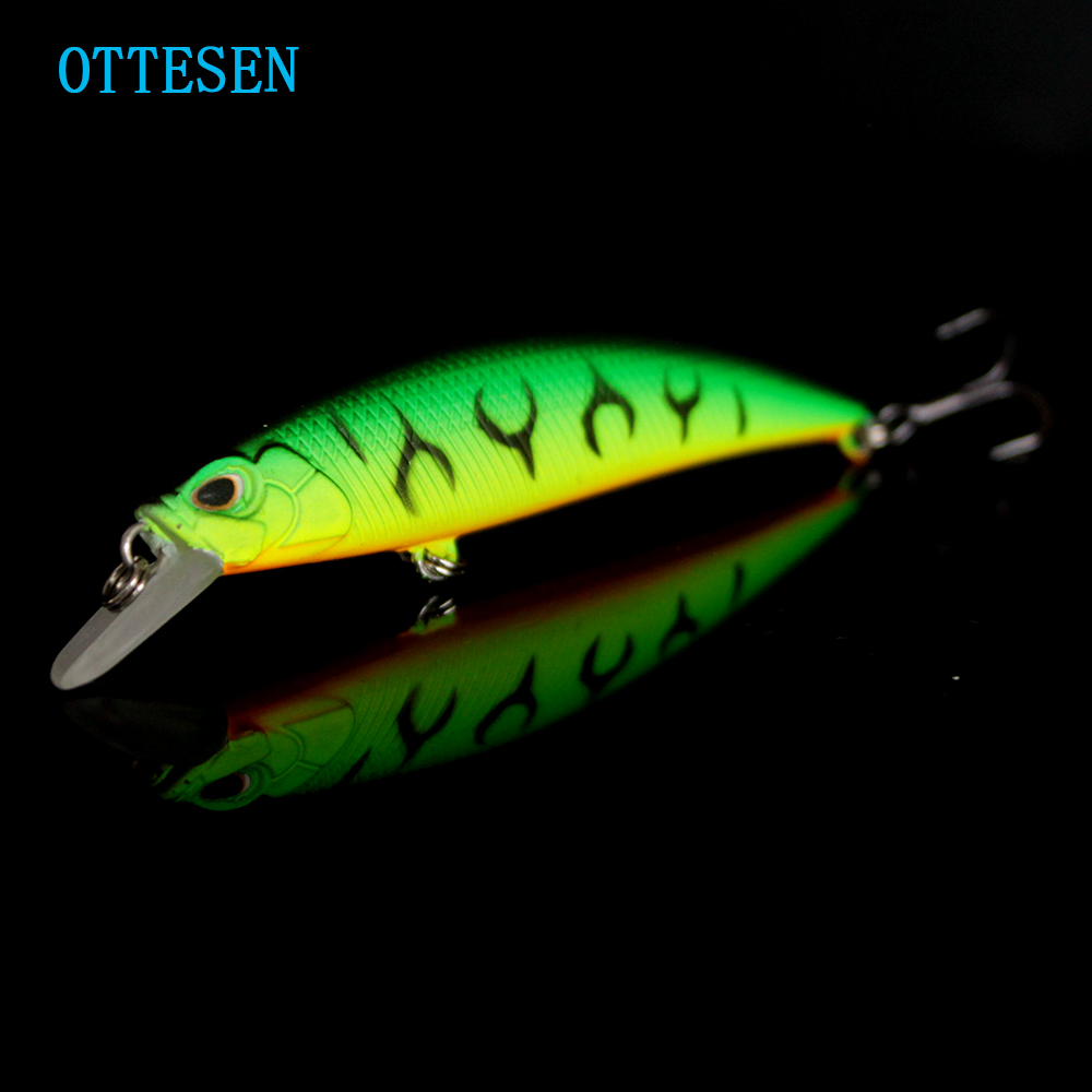 OTTESEN 1pcs/lot 80mm 9.3g minnow fishing lure deep sinking plastic hard bait jerkbait isca artificial pesca peche 10 colors