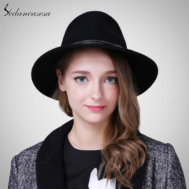 Lady Fedora Hat High Quality Australia Wool Felt hats for women Autumn Winter Keep Warm Fashion Wide Brim Fedora cap FM087004