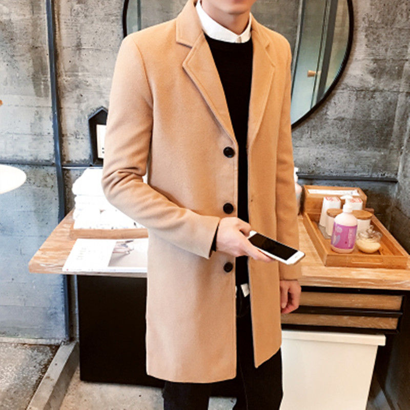 2019 New Winter Wool Coat Men Leisure Long Sections Woolen Coats Men's Pure Color Casual Fashion Jackets/Casual Men Overcoat 3XL(China)