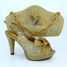 2016 High quality Nigeria Wedding shoes Italian shoes and bags set to match Free shipping MM1015