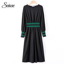 027c5f28371 Femmes Rayé t-shirt Robe Automne Hiver À Manches Longues O-cou Noir Long  Robe De Base Occasionnel Tunique Coréen Streetwear Feme.