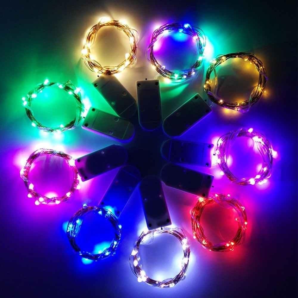 Nút Đèn Dây LED Dây Đồng Đèn Màu Trắng Ấm Áp Đầy Màu Sắc Ánh Sáng NHẤP NHÁY 1M 2M 5M Trang Trí Giáng Sinh lồng Đèn Hồng Xanh