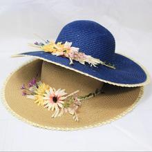 Flower Crown Headband Beach Cotton Hat Women Summer Flowers Sun Hats Wide Brim Travel Sunhat Lady Sunscreen Folding Cap