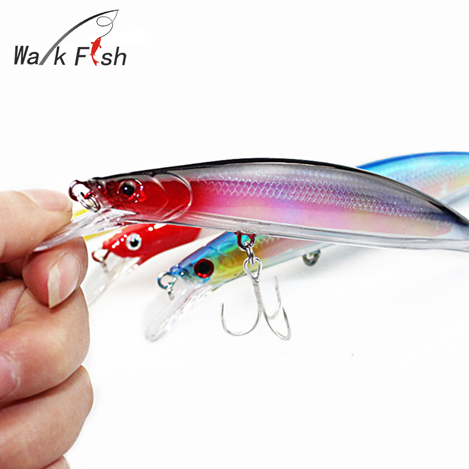 WALK FISH 1Pcs Floating Minnow Fishing Lure 14cm 22g Laser Hard Artificial Bait 0.5-2m 3D Eyes Fishing Wobblers Crankbait 5pc sinking fishing lure minnow wobblers crankbait laser hard artificial bait 3d eyes fish trout swim baits with treble hook sea