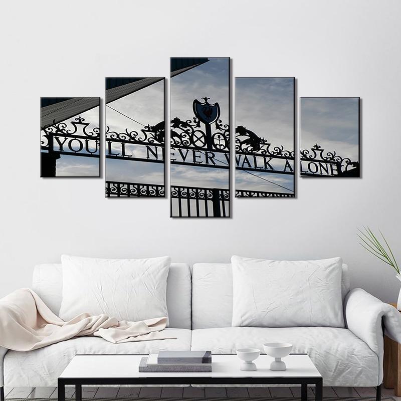 Wall Art 5 pièces toile vous ne marcherez jamais seul peintures Liverpool FC Club magasin photos noir et blanc salon décor à la maison