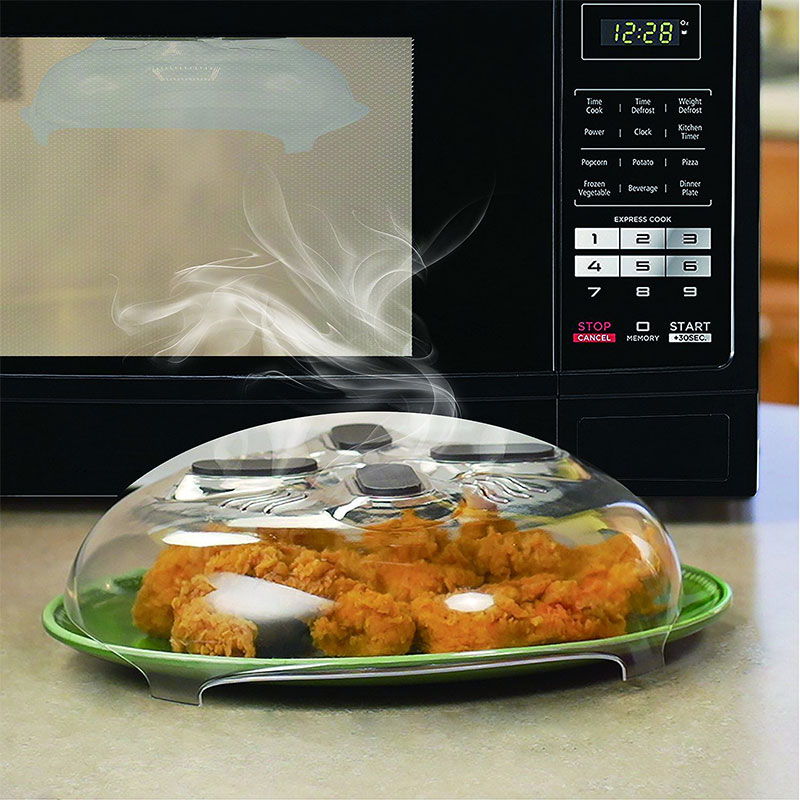 11.5 Inch Microwave Hover Anti Sputtering Cover New Food Splatter Guard Microwave Splatter Lid with Steam Vents Safe & BPA-Free