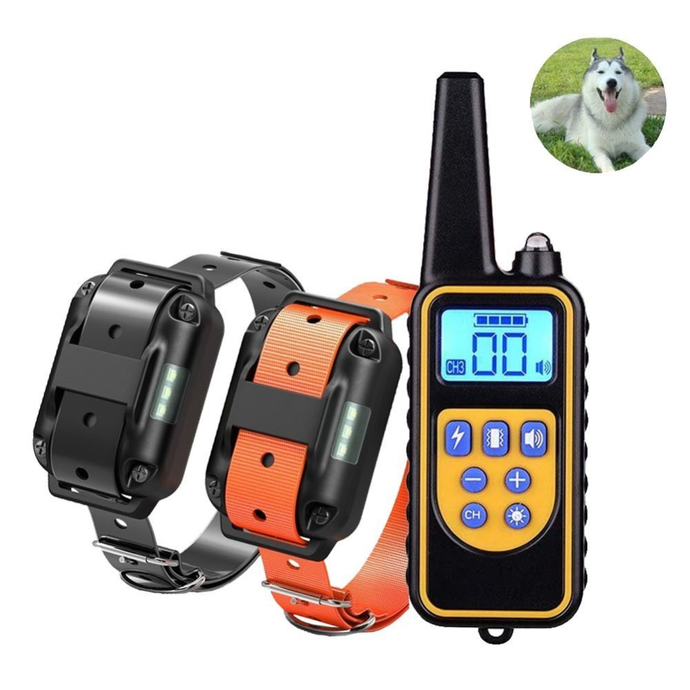 Dog Training Collar 800 Yards Medium Large Rechargeable Waterproof Electronic Training System Support 3 Dogs shock bark stop-in Training Collars from Home & Garden
