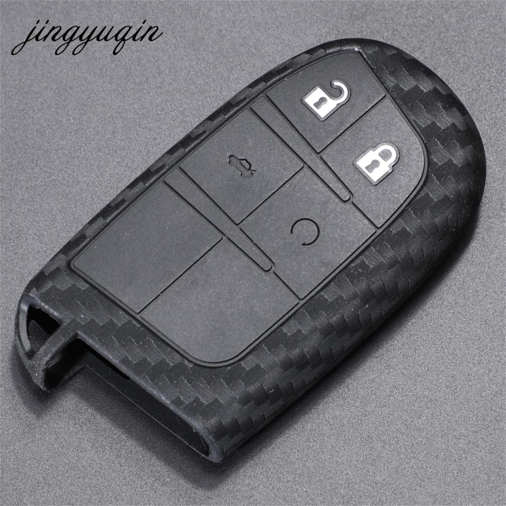jingyuqin Car Key Case Cover Fibler Silicone For Dodge Journey Charger for Jeep Renegade Grand Cherokee for Chrysler 200 300
