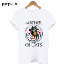 MOTHER OF CATS Print Modal T-Shirts Women Summer Tees Hipster Tumblr Tshirt Short Sleeve Streetwear Unique Vogue Casual Tops