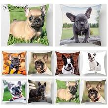 Fuwatacchi Cute Poppy Home Decor Cushion Cover Animal Dog Print Pillow Cover Chair Sofa French Bulldog Decorative Pillow Case цены