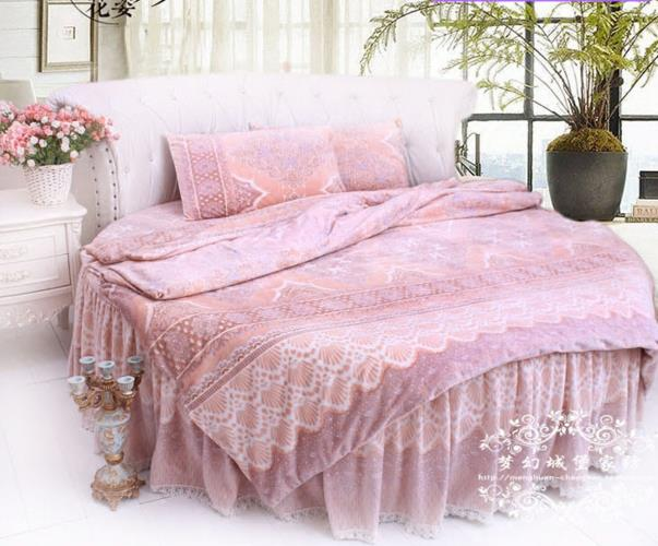 villa Home Round bed bedding sets cotton BEIGE BROWN lACE DUVET COVER luxury coral fleece winter special bedding freeshipping