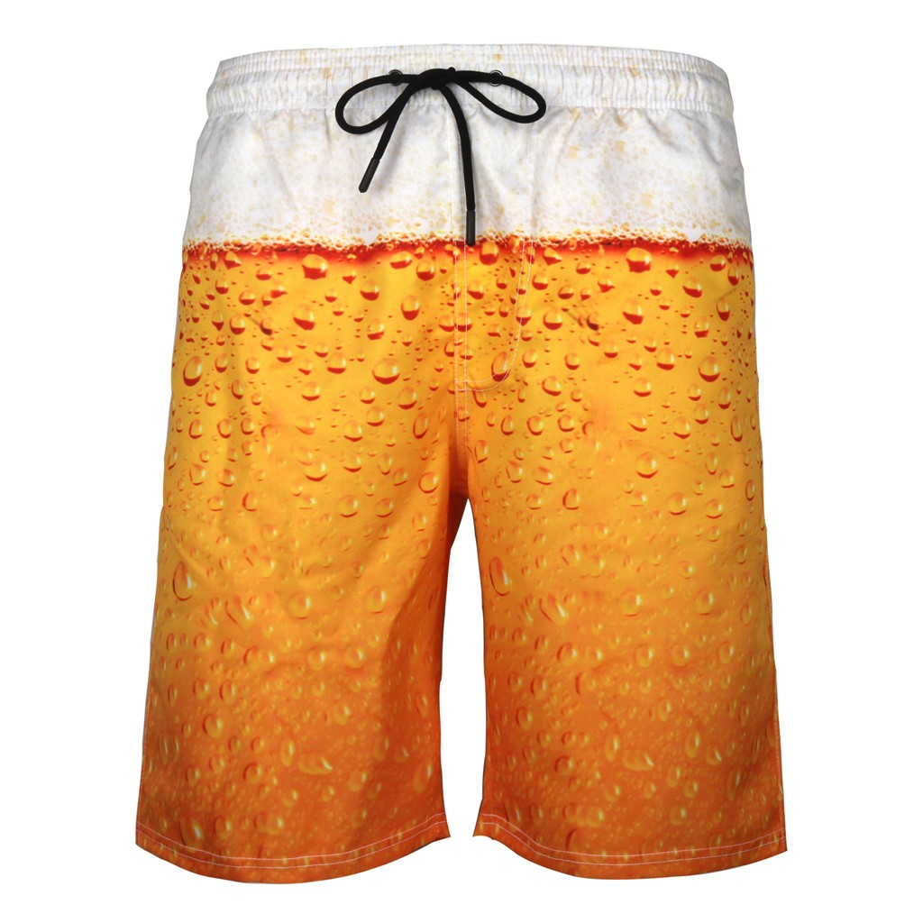 SAGACE 2019 New Arrival Mens Hawaiian Swimming Shorts Mens Summer Swim Trunks 3D Print Graphic Casual Athletic Beach Short