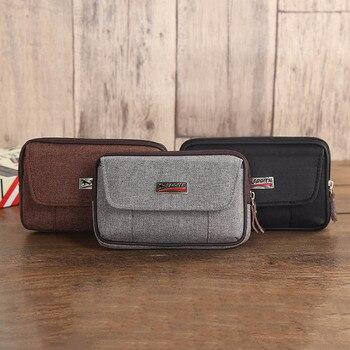 Cowboy Canvas Phone Pouch Belt Clip Bag for Samsung Case with Pen Holder Waist Bag Outdoor Sport 1