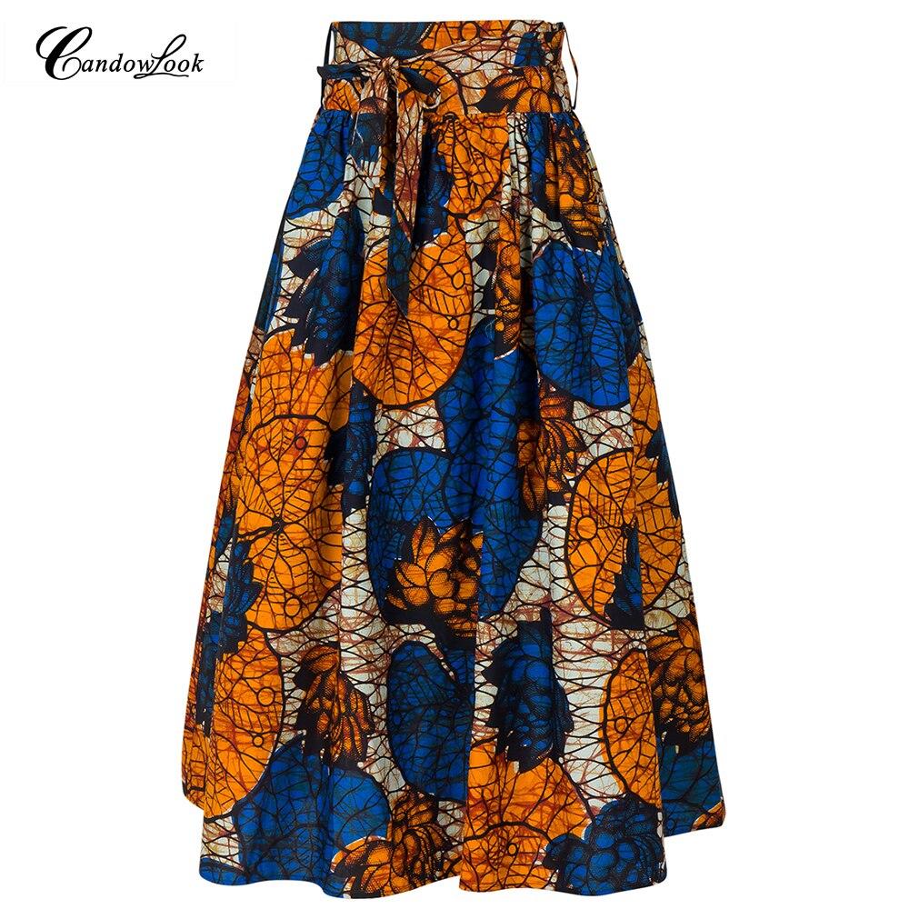 Dashiki Skirt Wax African Print Clothing Boho Cotton Beach Maxi Skirts Vintage Flare High Waist Tribal Print Jupe Longue Femme