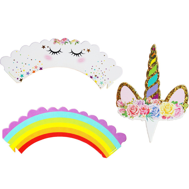 Rainbow Unicorn Shaped Cake Toppers 24 pcs Set