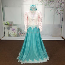 Oumeiya ORE188 Real Pictures With Hijab and Veil Pink and Green High Neck Long Sleeve Muslim Evening Dress 2016