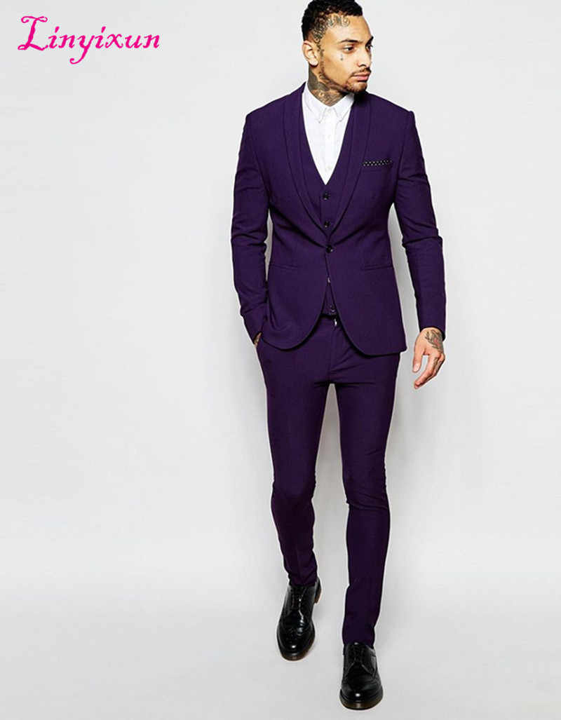 Linyixunセンターベント新郎男性ショールラペル新郎タキシード紫男性スーツスリムフィットウェディング最高の男ブレザー(ジャケット+パンツ+ベスト)