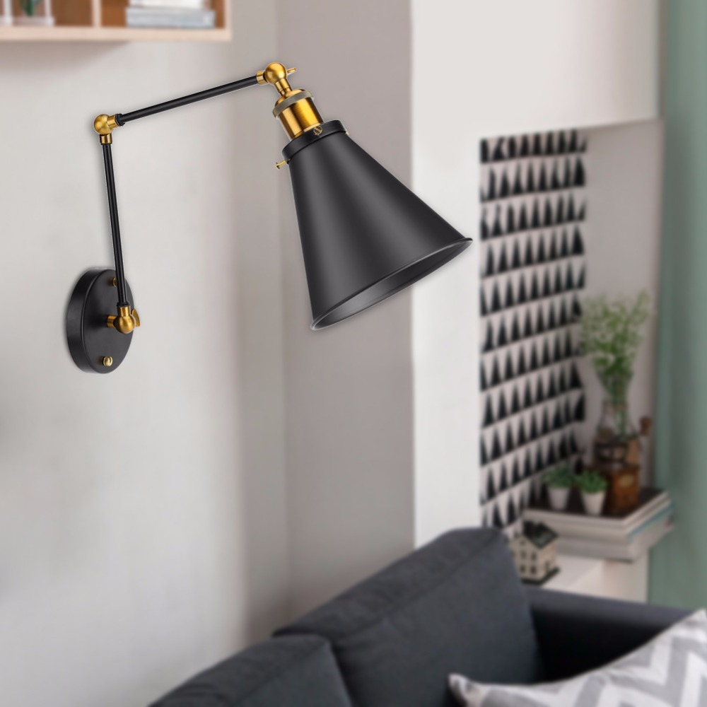 Vintage Industrial Lamp Shade Warehouse Wall Lamp Cover Loft Swing Arm Light Shade lampshade Adjustable Ambient Lighting Cover