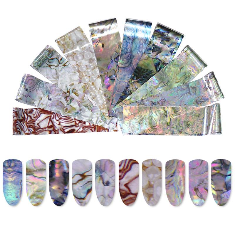 1 Box Olografico Stagnola Del Chiodo Autoadesivo Cielo Stellato Seashell Pearl Marmo Manicure Nail Art Trasferimento Adesivi Decorazione Fai Da Te Crease-Resistenza
