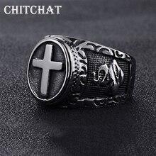 Титановая сталь крест красный щит мужское кольцо Тамплиер крестовый поход крест кольцо средневековая печатка Ретро винтажный панк кольца на палец