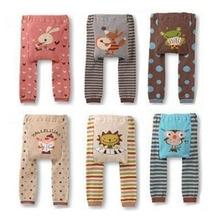 Штанишки для малышей Детские вязаные хлопковые длинные штаны в полоску с рисунком для маленьких девочек от 6 до 36 месяцев, 6 цветов