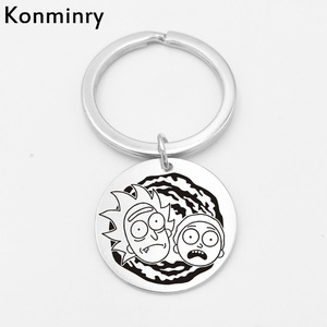 Inexpensive Konminry Hot Rick Morty Long Key Chain Keyring Stainless Steel Round Shape Pendant Laser Printing Cartton Keychain Jewelry — bequmcmvl