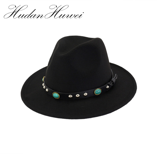 bc5f0710d5d 2018 New Style Soft Women Vintage Wide Brim Wool Felt Bowler Fedora Hat  Floppy Cloche Women s