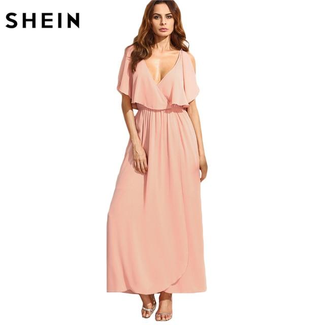 SHEIN Long Dresses for Women Summer Style Ladies Plain Pink Spaghetti Strap Deep V Neck Ruffle Sleeveless Maxi Dress