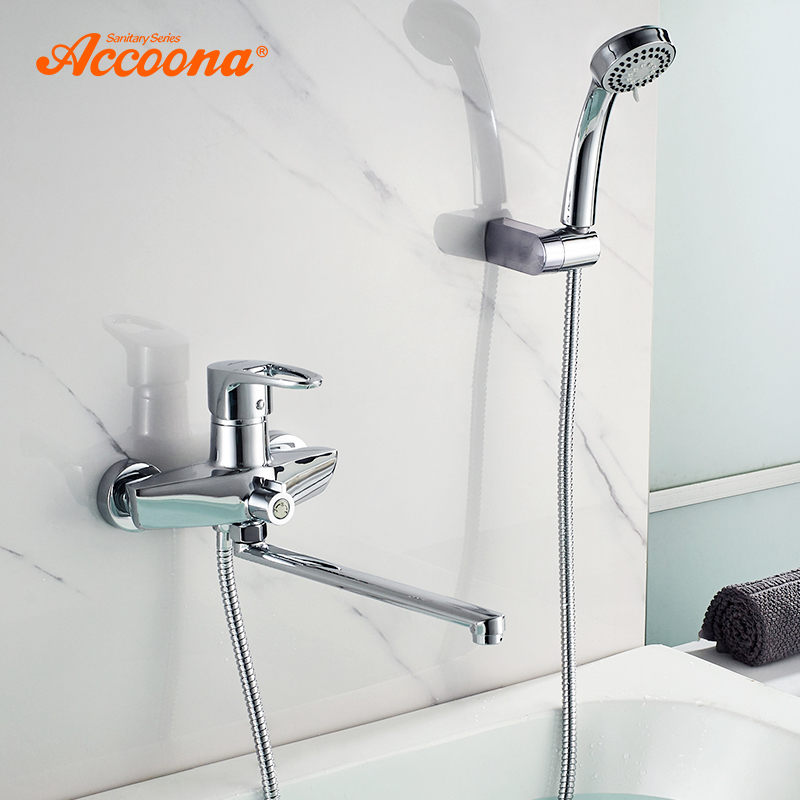 Accoona Bathtub Faucets Wall Mounted Bathroom Sink Faucet Torneira With Long Spout Single Handle Bathtub Mixer Faucet A7101