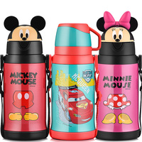 Disney children's mug with straw three cover stainless steel shatter resistant kettle student kindergarten baby thermos