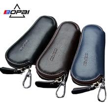 Genuine Leather Car Key Wallets Men Key Holder Housekeeper Keys Organizer Women Keychain Covers Zipper Key