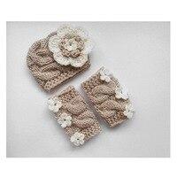 Crochet Baby Hat Flower Bonnet Leg Warmers Photography Props Hand Knit Beanies Newborn Baby Props Photo