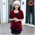 CDS055  Free Shipping 2014 Europe New Item Fashion Winter Knitted Genuine Mink Fur Shawl
