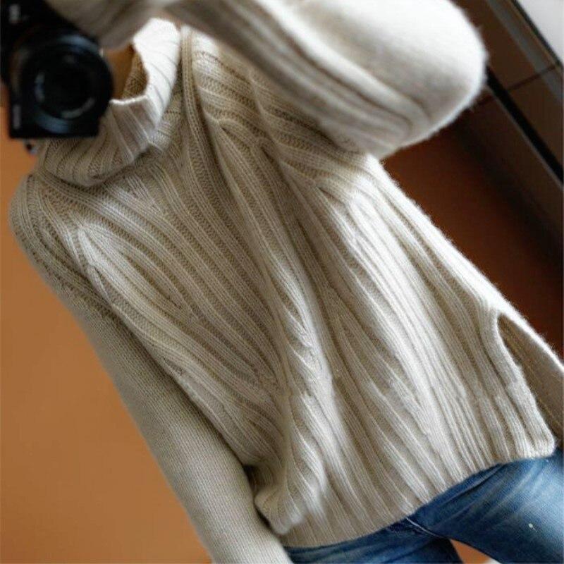 JECH hiver nouvelle mode cachemire laine femmes chaud chandails décontracté manches longues col roulé lâche pulls tricotés femmes pulls-in Pulls from Mode Femme et Accessoires    2