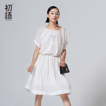 Toyouth New Style Women Cotton Knee-Length Dresses Summer Casual Printed O-Neck Dresses