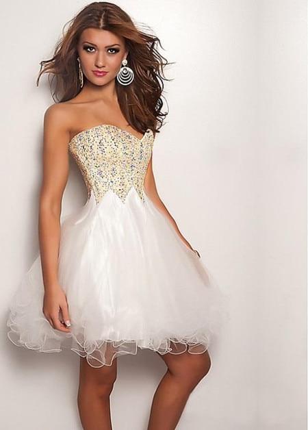 High Quality White Prom Dress Puffy-Buy Cheap White Prom Dress ...