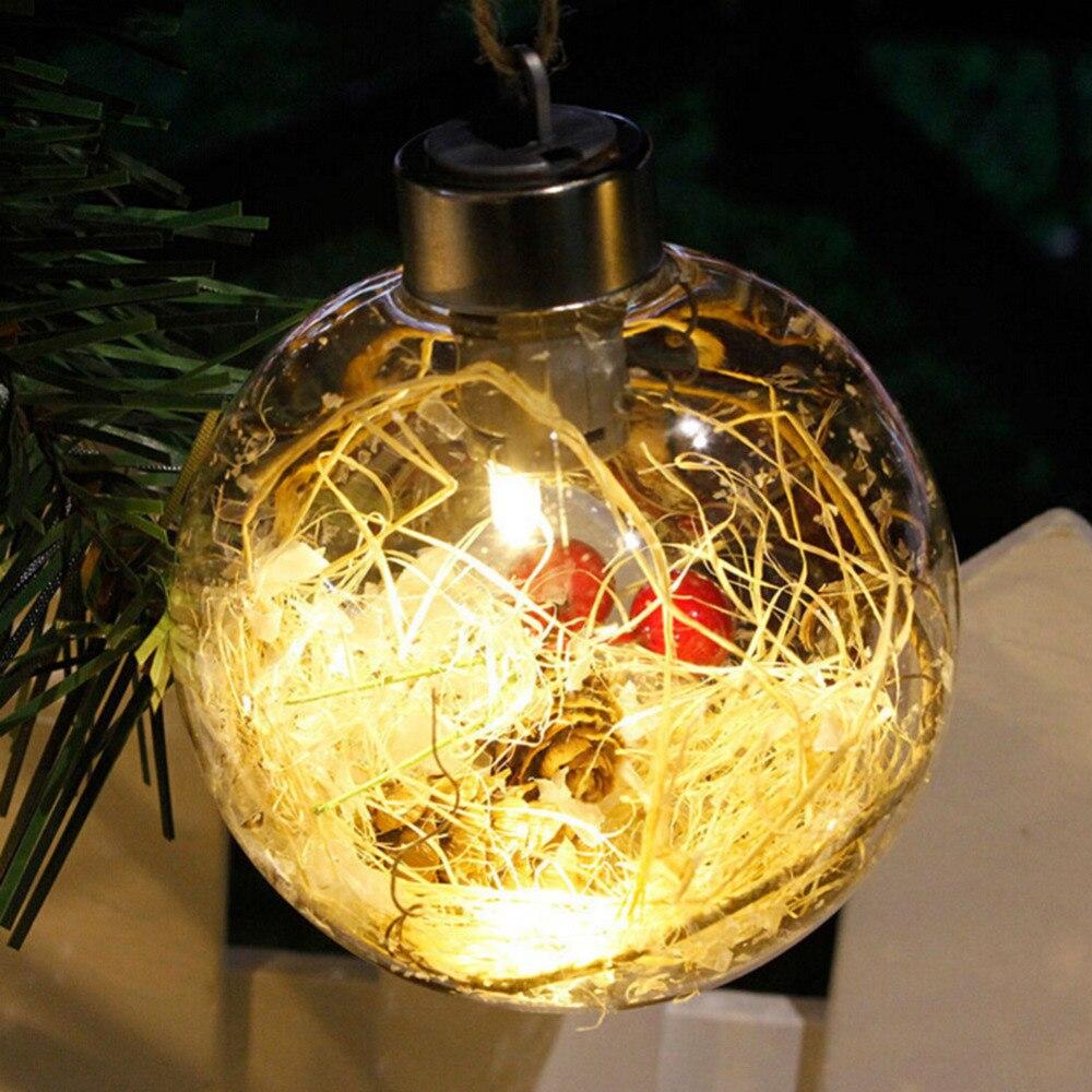Merry Christmas Tree LED Bulb Light Ball Clear Plastic Ornament ...