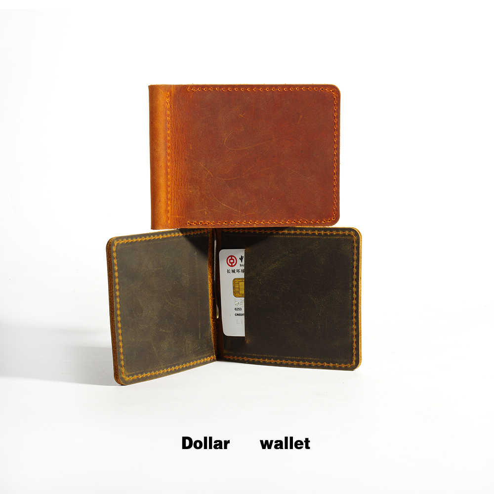 Handmade Genuine Leather Money Clip Wallet Slim with Metal Money Holder Wallet Vintage Stainless Mens Wallet Clip Bill Holder