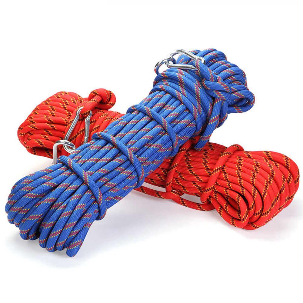 Professional 30M Outdoor Rock Climbing Rope High Strength Cord Safety Ropes Hiking Accessory 10mm Diameter 3KN Striped Buckle xinda 10m professional rock climbing rope 10 5mm diameter 25kn high strength downhill survival safety climbing