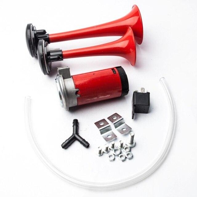 Dual Trompeta Corneta de Aire Compresor Kit para el Barco Del Carro Del Coche de Tren 135db Rojo