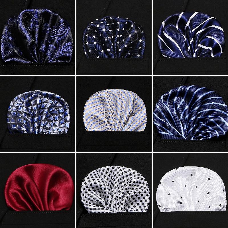 Mens Wedding Pocket Square Silk Match For Suit Tie Men's Handkerchief Accessories Jacquard Solid Dots Stripes Pattern