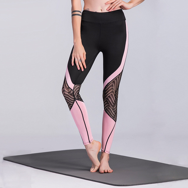 d9a0aaa84b90e JIGERJOGER New black lace stitching pink sporty Leggings mesh side panel  Yoga Pants skinny women's active
