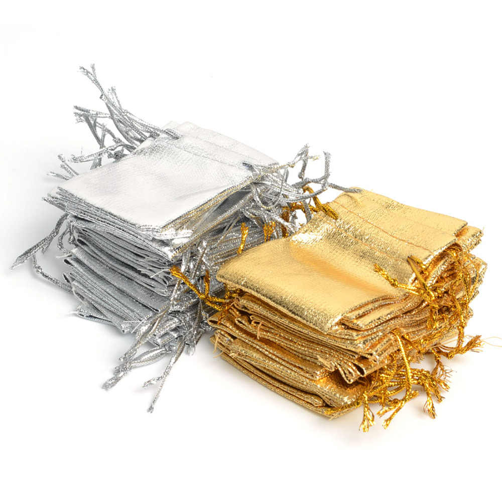 100Pcs Gold Color & Silver Color 7x9cm Organza Bag Jewelry Pouch Bag,Christmas Wedding Bridal Birthday Party Gift Bags & Pouches