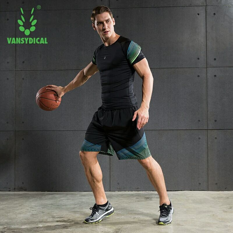 Vansydical Summer Jogging Suits Men's Fitness Sport Suits Quick Dry Basketball Running Shirts+Shorts Sets Gym Sportswear 2pcs 2
