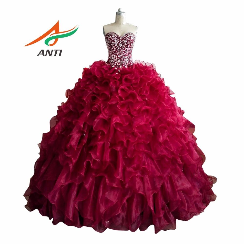 ANTI Luxury 2017 Quinceanera Dresses Beading Rhinestones Backless Plus Size Princess Vestidos De Quinceaneras Sweet 16 Dresses