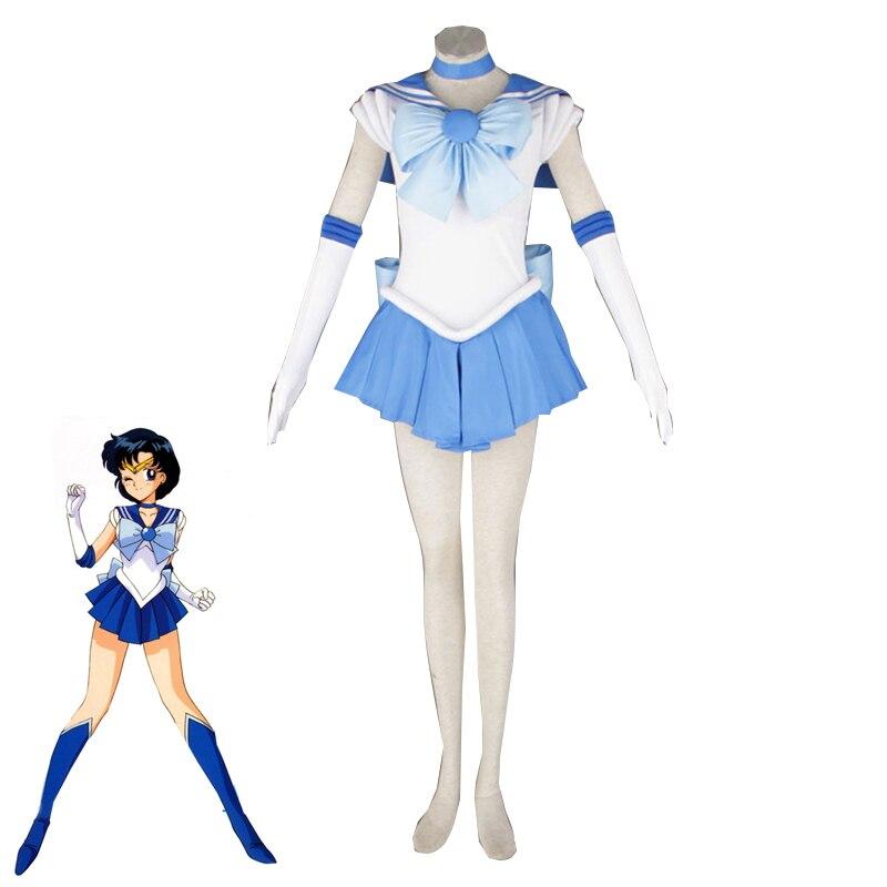 Anime Sailor Moon Mizuno Ami Cosplay Costume Adult and Kids Mercury Dress Halloween Carnival Uniform Custom Made
