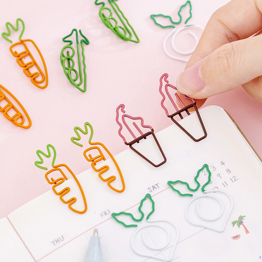 5pcs/lot Cute Fruit Paper Clip Metal Bookmark Office Statioinery School Office Supply Home Decoration