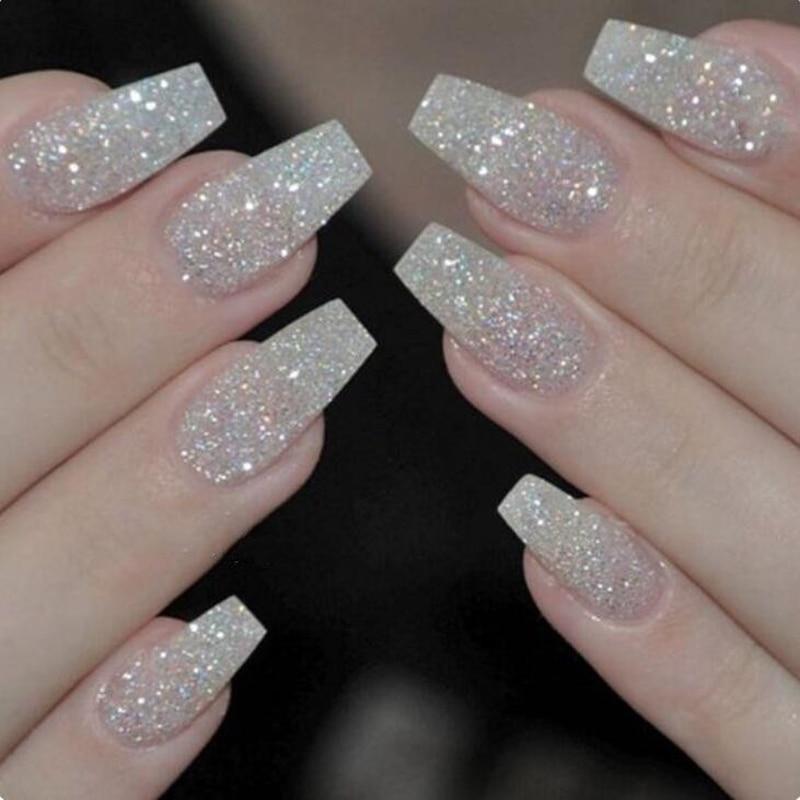 100PCS/Box Ballerina Nails Acrylic False Nails Full Cover Natural ...